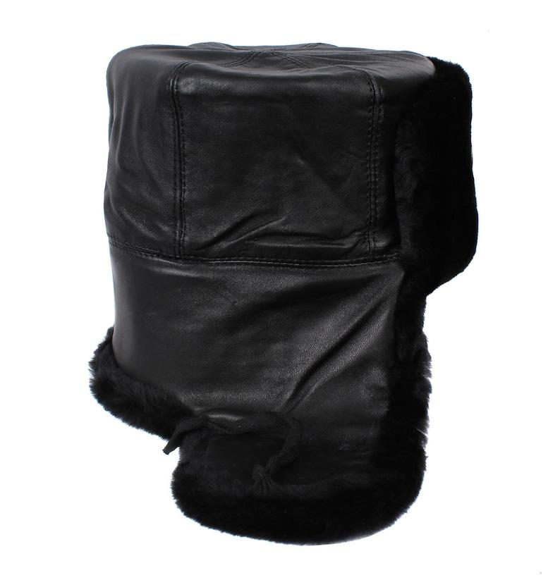 7892b338ef968 Russian Navy Captain leather Ushanka warm fur hat black winter
