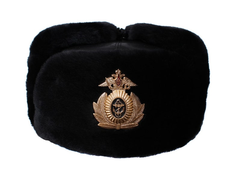ad8a36699fa Russian Navy Captain leather Ushanka warm fur hat black winter