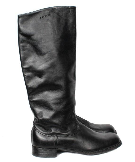 équitation officiers chrome en russe URSS bottes cuir soviétique pour militaire haute Bottes chaussures TlFK1cJ3