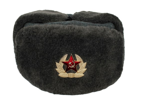 Original Soviet Gray Fur Soldier Winter Warm Hat Ushanka  4f2bb494938