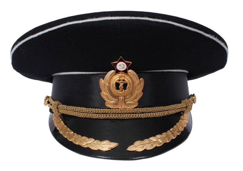50c56172 USSR Soviet Naval Officer Black Peaked Visor Cap Russian Navy | Etsy