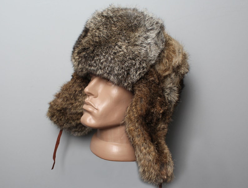 0d5a534d3 Traditional Russian rufous & gray Rabbit Fur Winter Warm Hat Ushanka