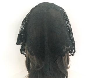 Triangle Small Black Lace Chapel Veil/Mantilla