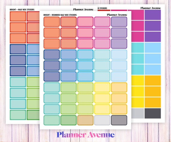 Stickers Half Boxes Planner Stickers,ECLP Half boxes Planner