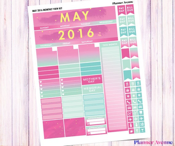 May Monthly View Kit Printable Planner Stickers Monthly Calendar Monthly Spread Pink And Green Erin Condren Spring Summer Ombre