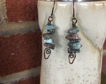 Larimar and Copper Earrings; Eco Friendly Jewelry; Boho Earrings; Zen Jewelry; Sustainable Jewelry; Yoga Earrings