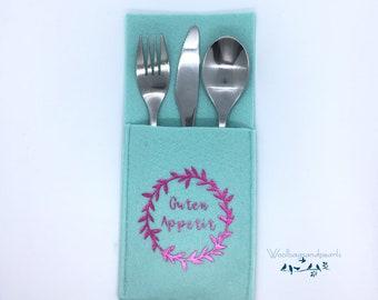 Cutlery bag set mint, set of 6