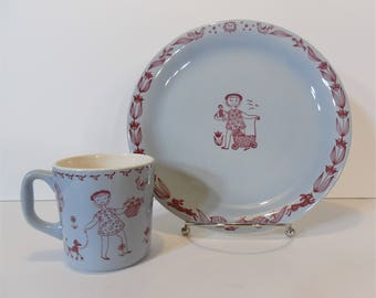 Stavangerflint Kari Nyquist child's plate and cup ~ Stavangerflint Pale Blue with Maroon Design child's plate and mug