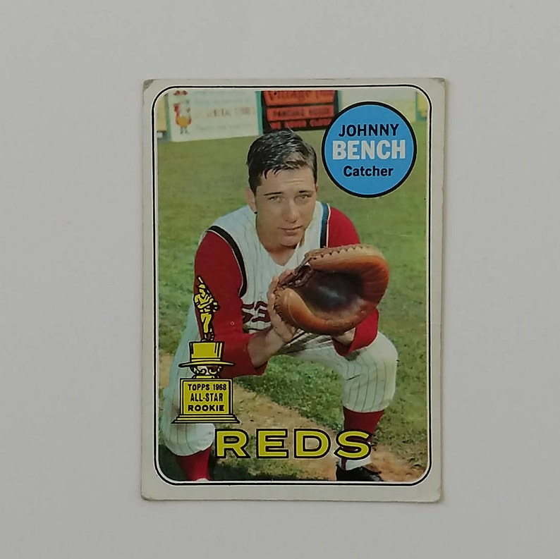 Johnny Bench 1968 All Star Rookie Card 1969 Topps Card 95 Cincinnati Reds Catcher Card Is 48 Years Old Great Shape Collectors Gem