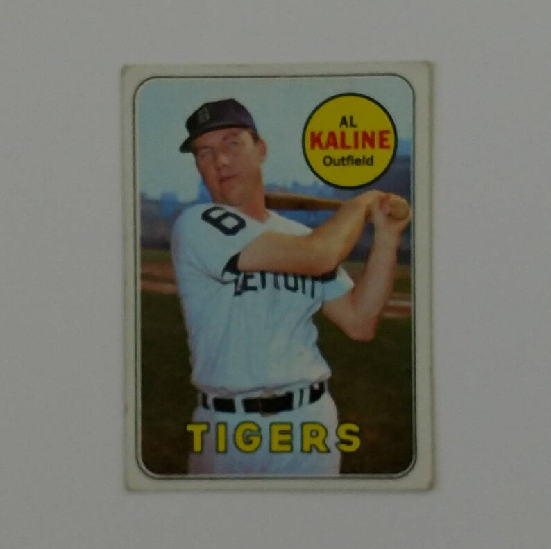 Al Kaline Outfield Detroit Tigers 1969 Topps Card 410 Mnm Mlb Collectibles Plastic Sleeved From Private Collection Rare Topps Card