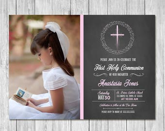 First Communion Invitation - Pink Cross Chalkboard - First Holy Communion Invite - Photo Invite - Chalkboard Invitation - 1st Communion