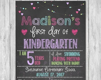 First Day of Kindergarten Chalkboard Sign Printable Photo Prop - First Day of School Sign - Personalized Back to School Pink - ANY GRADE