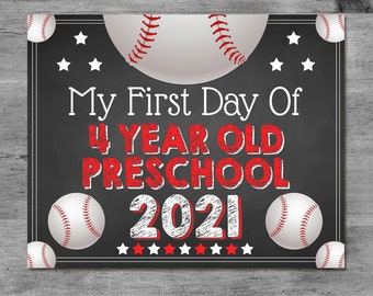 First Day of 4 Year Old Preschool Sign Baseball Chalkboard - Printable Back to School Sign - First Day of School Sign - 101089
