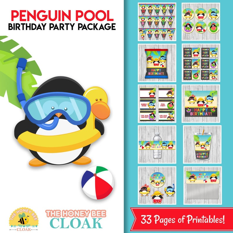 Pool Party Penguins Birthday Party Package | Pool Birthday Party Decor | Penguin Pool Party Birthday | Pool Party Printables 100741 - Chalkboard Penguins Pool Party
