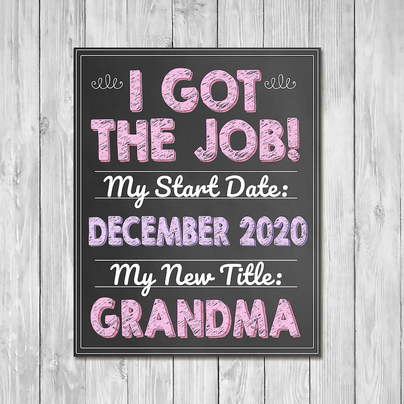 Pregnancy Announcement Sign - I Got the Job of Grandma - New Grandma Announcement Sign - Expecting Sign - Photo Prop Pregnancy Reveal Sign