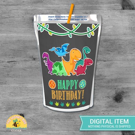 Dinosaur Juice Labels-Custom Capri Sun-Dinosaur Birthday Party-Printable-Treats-Digital-Printable Favor-Dinosaur Juice Pouch-Pink Dinosaur