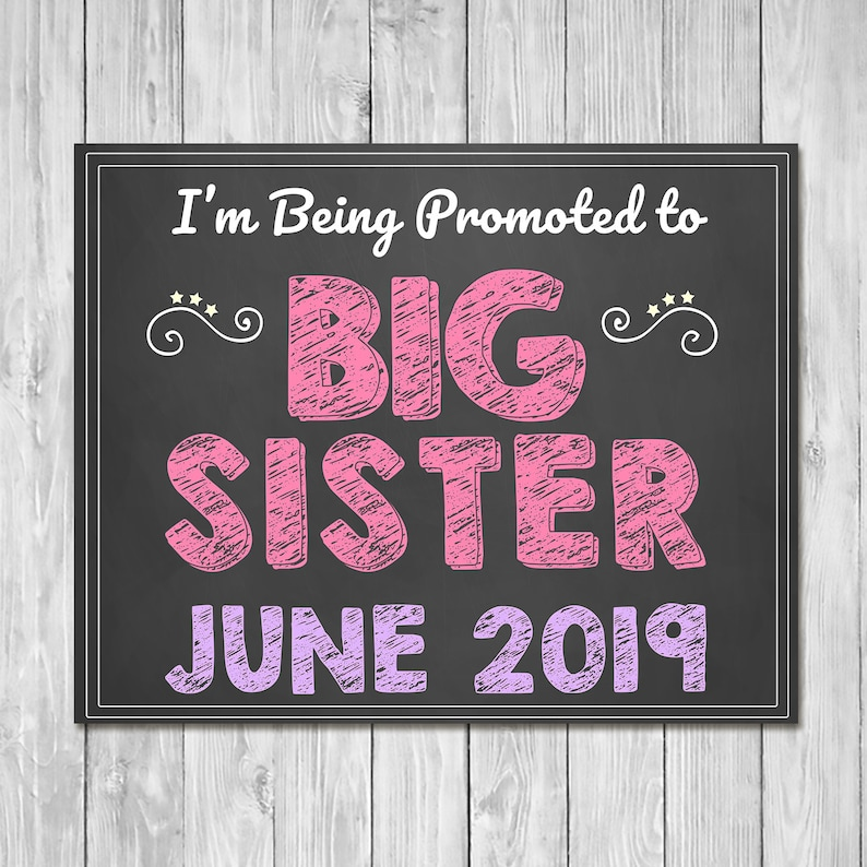 Pregnancy Announcement Sign - I'm Being Promoted to Big Sister - Sibling Announcement Sign - Expecting Sign - Photo Prop Pregnancy Sign