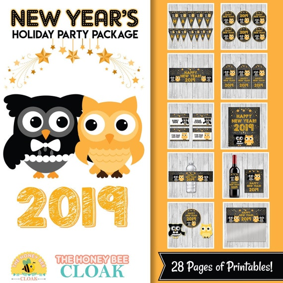 New Year's Eve Party Package | Holiday Party Decor | New Years Party Printables | New Years Dinner | Happy New Year Party Printables 100739 - Chalkboard Gold Owls