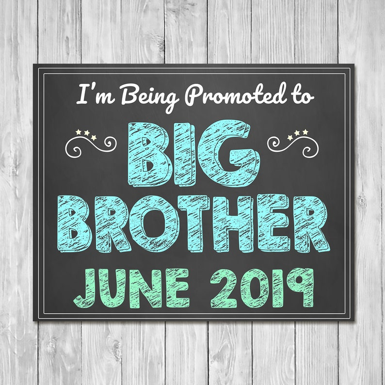 Pregnancy Announcement Sign - I'm Being Promoted to Big Brother - Sibling Announcement Sign - Expecting Sign - Photo Prop Pregnancy Sign