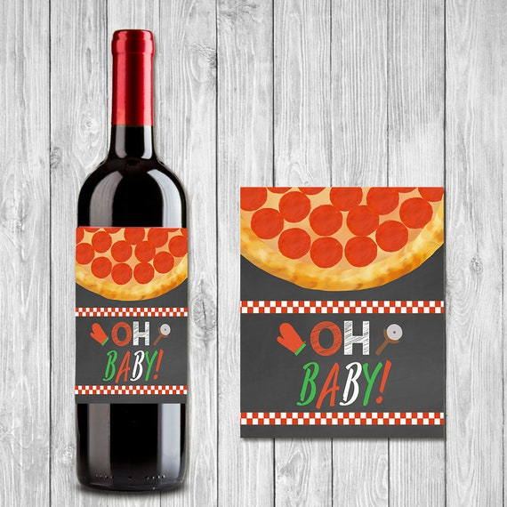 Pizza Party Baby Shower Wine Bottle Label Oh Baby Couples Etsy