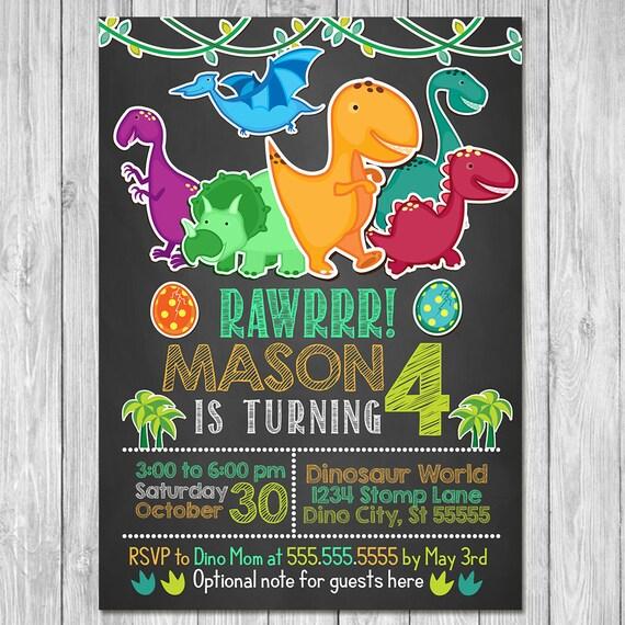 Dinosaur Birthday Invitation Party Invite