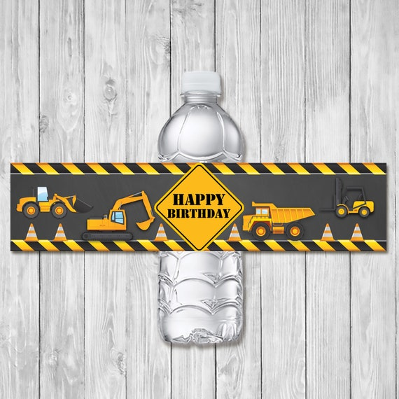 Construction Birthday Drink Labels Chalkboard | Dump Truck Water Bottle Label | Construction Birthday Party Printables 1st Birthday 100862