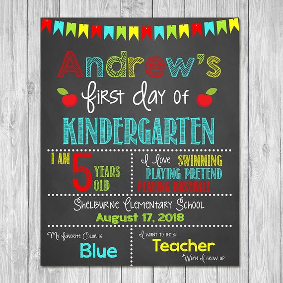 First Day of Kindergarten Chalkboard Sign Printable Photo Prop - First Day of School Sign - Personalized Back to School Boy Sign - ANY GRADE