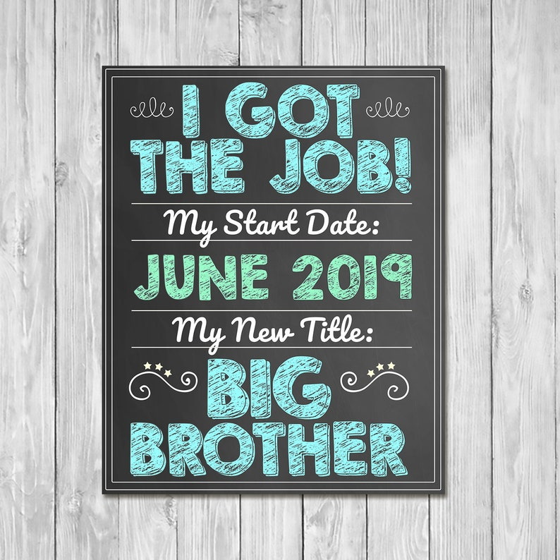 Pregnancy Announcement Sign - I Got the Job of Big Brother - Sibling Announcement Sign - Expecting Sign - Photo Prop Pregnancy Sign