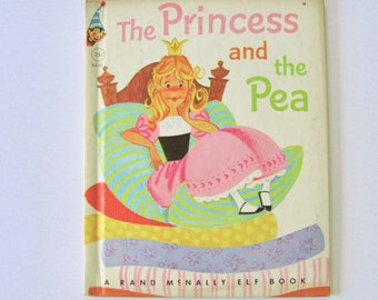 The Princess & The Pea. Rand McNally Elf Book 1955. Vintage collectible book fairy tale. classic children's story kid's book.
