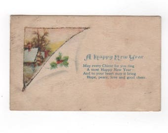 A Happy New Year. Glittered Antique postcard. Collectible ephemera card embellishment scrapbook collage.