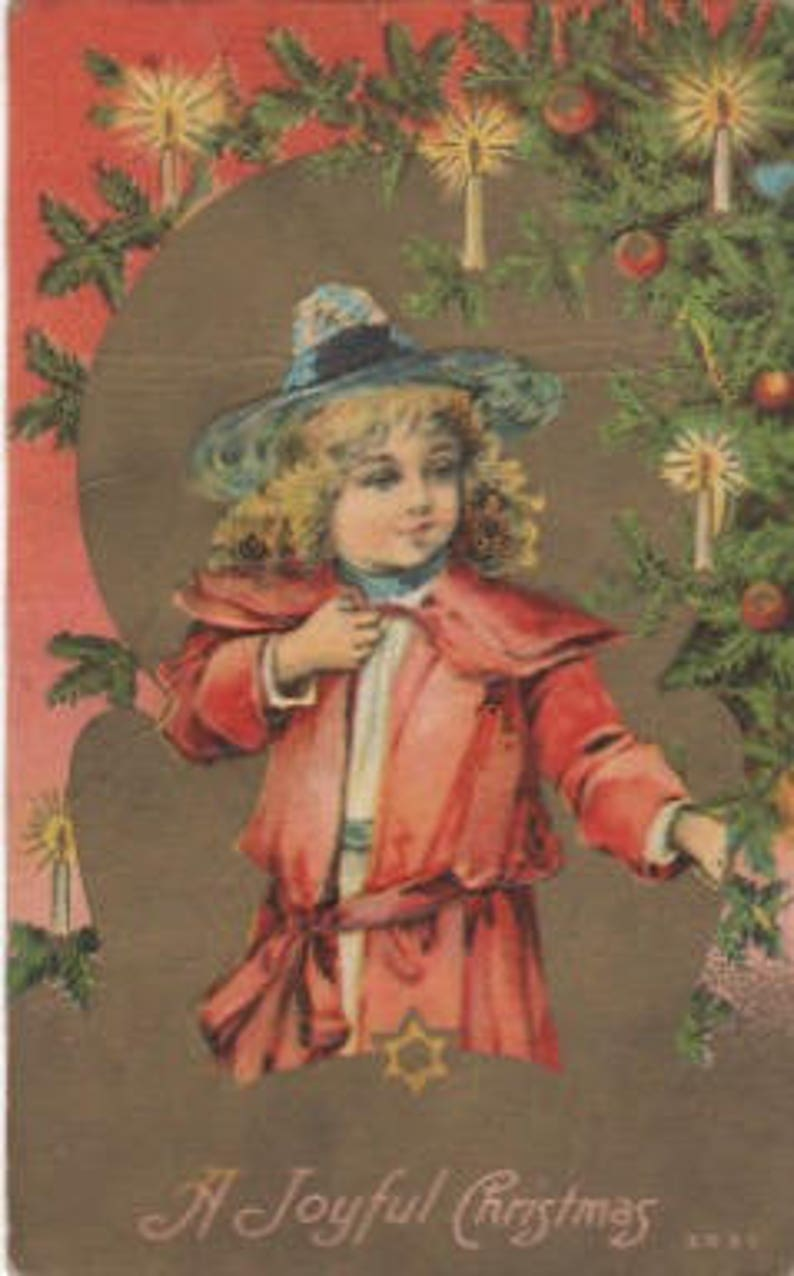 embossed Antique postcard with Gold accents A Joyful Christmas Vintage collectible ephemera scrapbook embellishment collage.