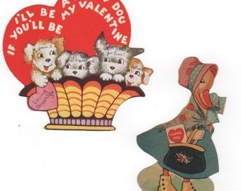 set of 2 vintage 1930s Valentine's Day cards. Duck and basket of puppies. Collectible vintage ephemera greeting card.
