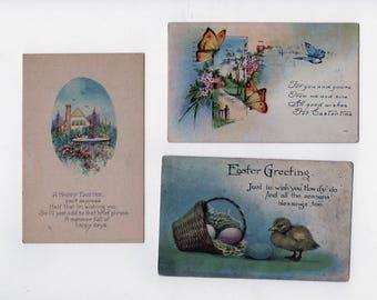Easter Postcard lot of 3. Antique postcards, 2 unused. 1919. Collectible ephemera card embellishment scrapbook collage.