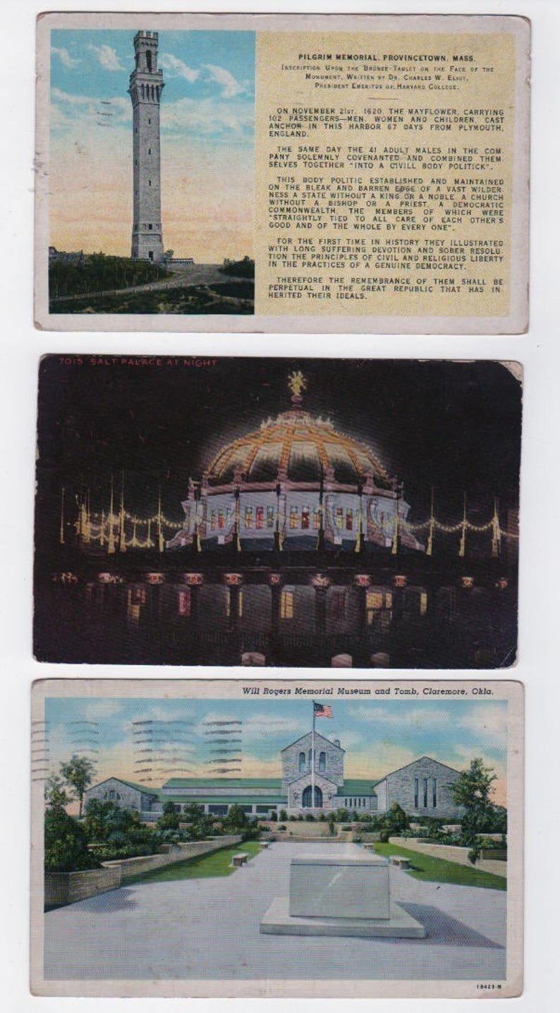 Minnesota Michigan 4 are linen 1912-1944 Travel Oklahoma New York Lot of 10 vintage postcards North and South Carolina Massachusets