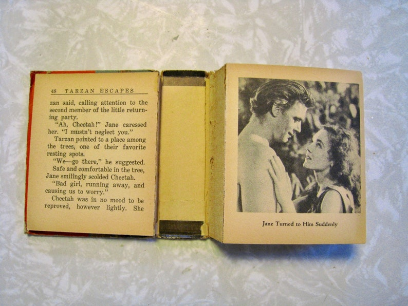 Tarzan Escapes  By Edgar Rice Burroughs  With scenes from the movie  Block  split, 1 missing page  Big Little Book Whitman 1936