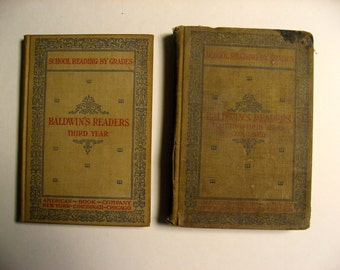 Baldwin's Readers set of 2 antique school books. Third Year and Fourth & Fifth Years combined. 1897 hardcover book set
