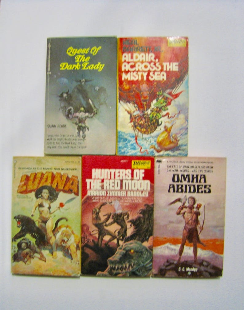 5 vintage Scifi books w/ great art  Luana  Omha Abides  Hunters of The Red  Moon  Aldair Across the Misty Sea  Quest of the Dark Lady