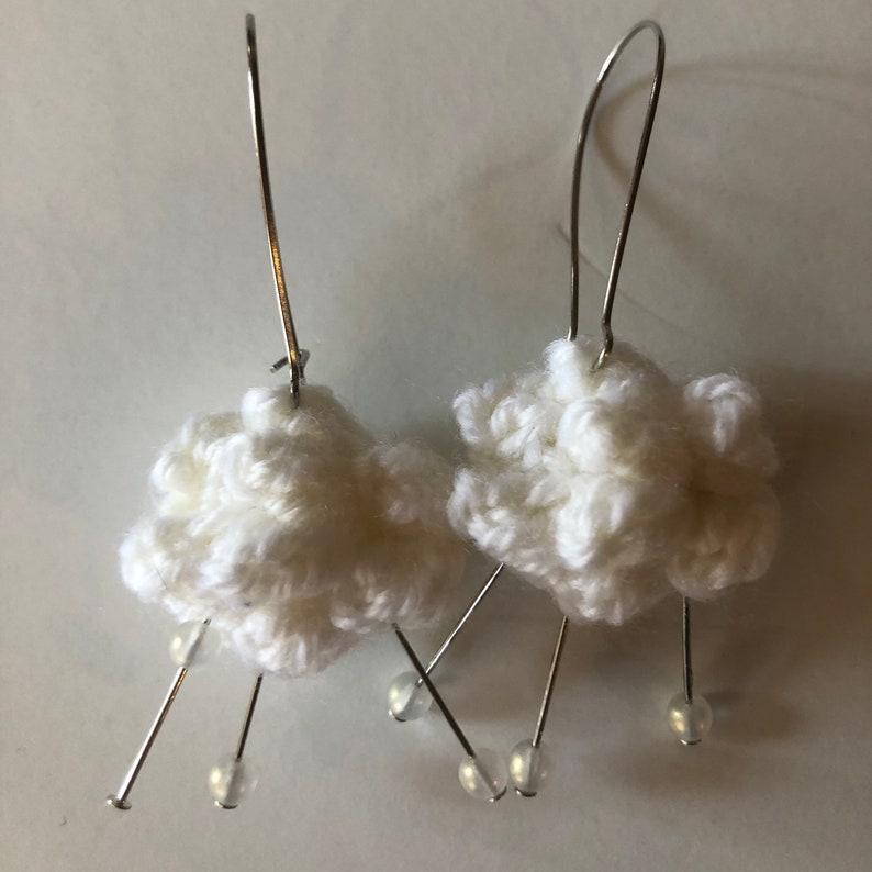 Snow cloud earrings crochet glass beads hypoallergenic image 0