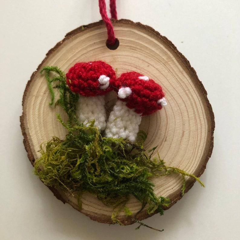 Mushroom ornament crochet woodland nature amanita polka dot image 0