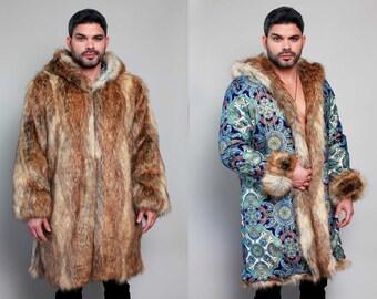 6a470fa93922 Sultan Tales Festival Faux Fur Coat Reversible Bohemian Tribal Fashion  Clothing Playa Coat Jacket Party Men Fur Traditional Shuba Designs