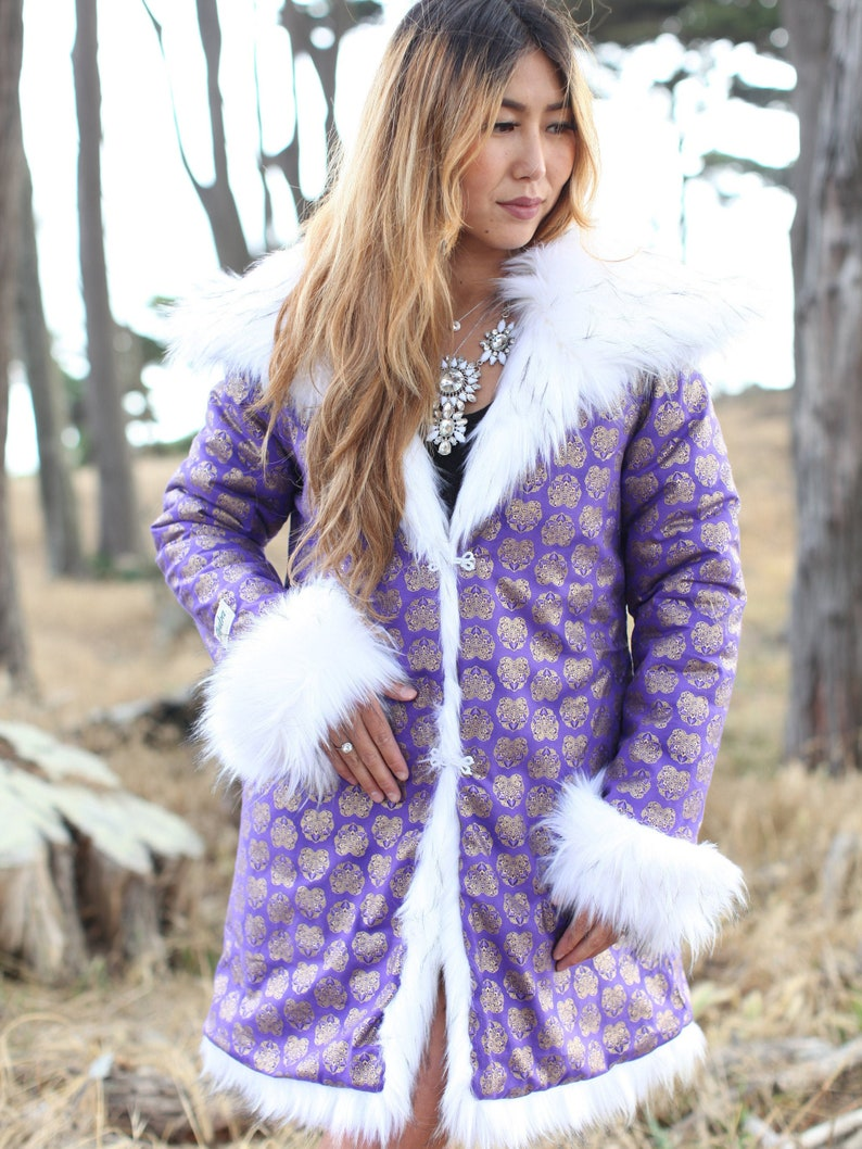 2bf19912920 Mayan Purple Festival Fur Jacket White Fur Coat Boho Style | Etsy