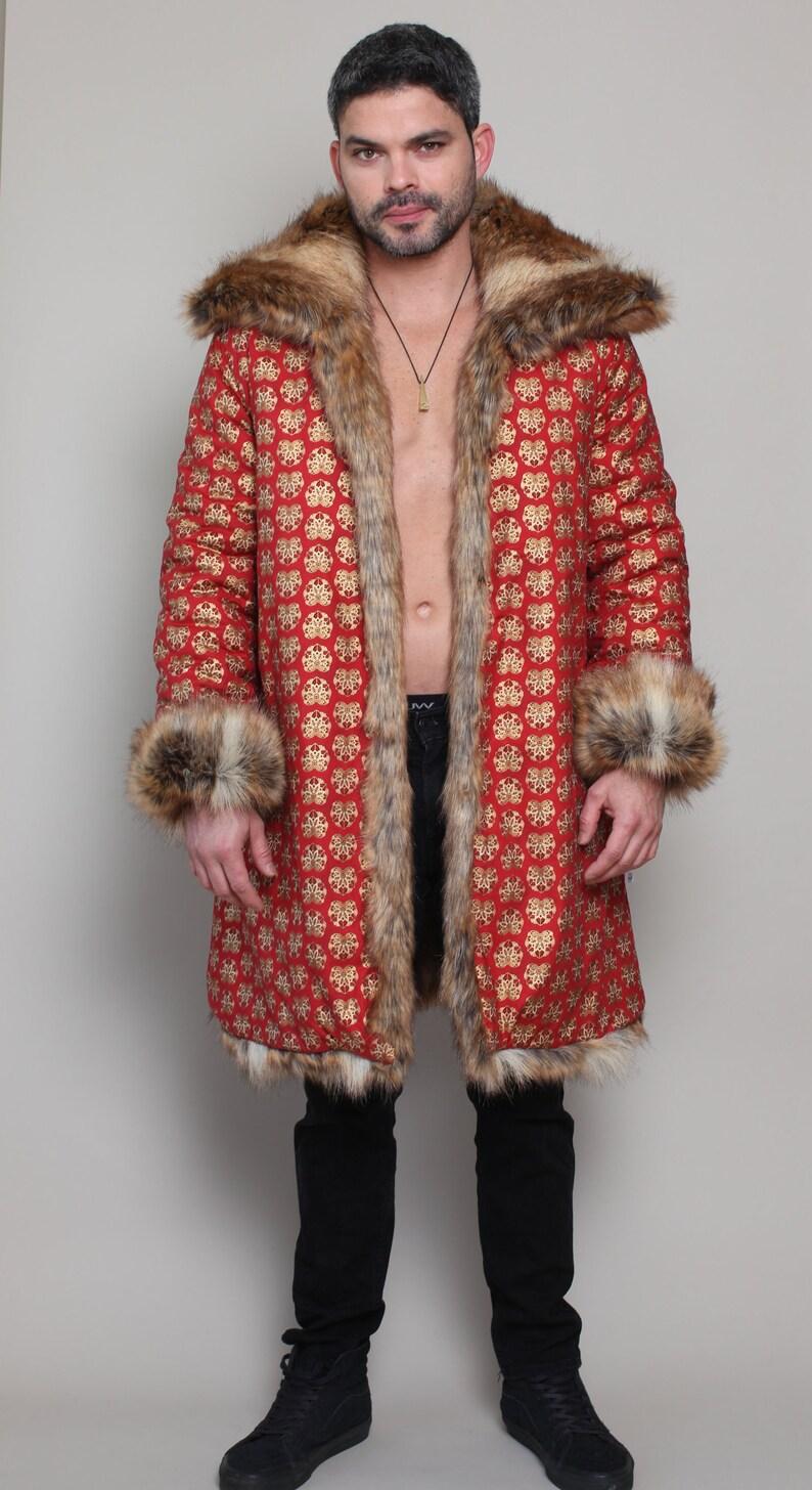 178cd196b652 Mayan Red Fox Festival Faux Fur Coat Reversible Tribal Ethnic