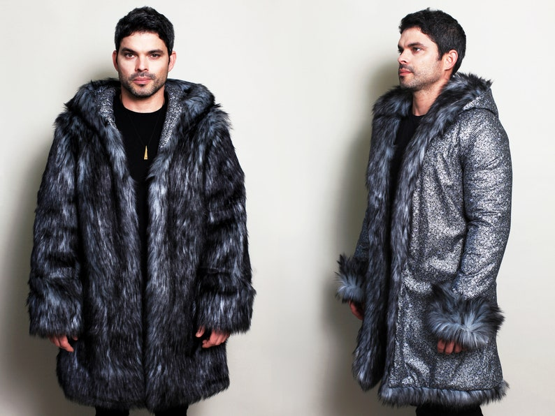 Wolf Fur Coat >> Silver Wolf Festival Grey Faux Fake Fur Coat Man Festival Clothing Trippy Iridescent Holographic Steampunk Boho Burning Rave Jacket Shuba