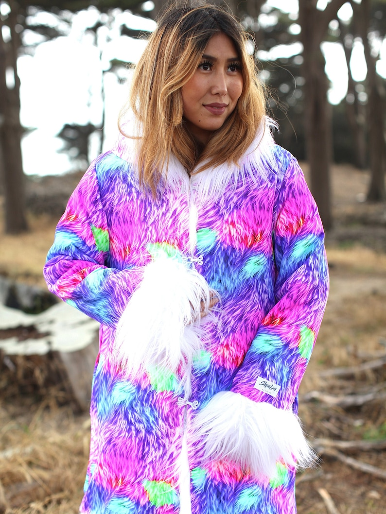 1629c6846de Fur Coat Unicorn Colorful Clothing Women Psychedelic Boho | Etsy