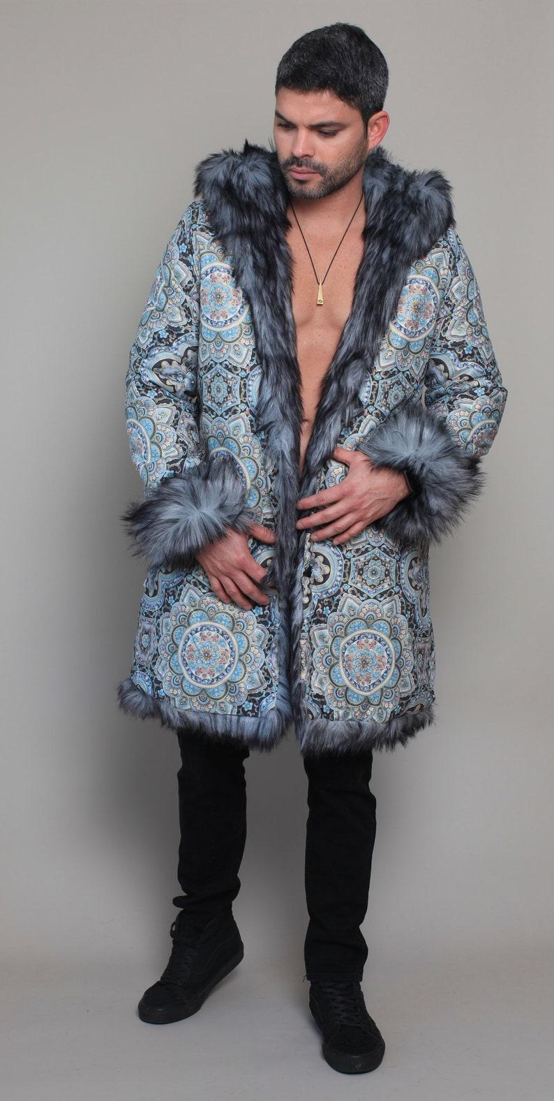393d03751928 Night Sky Festival Jacket Men Faux Gray Wolf Fur Coat Tribal