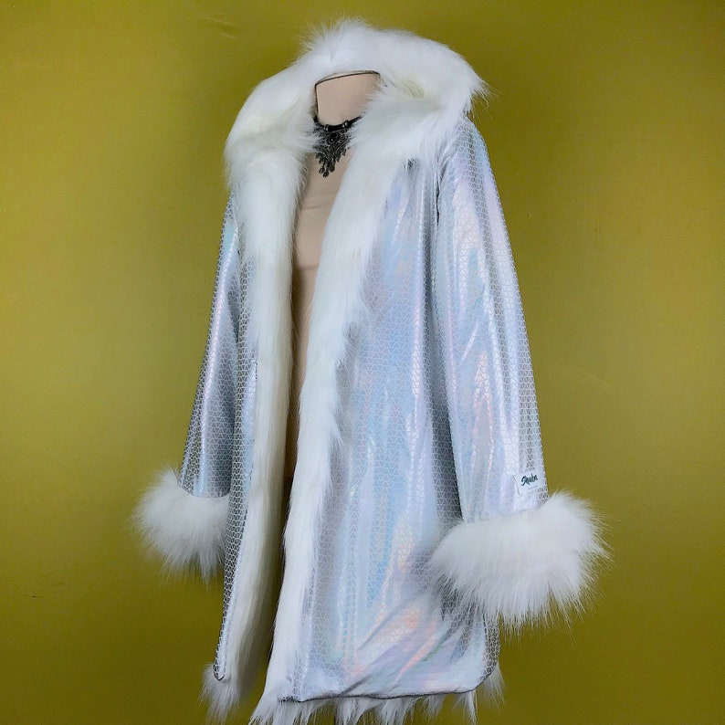 75f496dd37b5 Cosmic White Fur Coat Iridescent Unicorn Shiny Holographic
