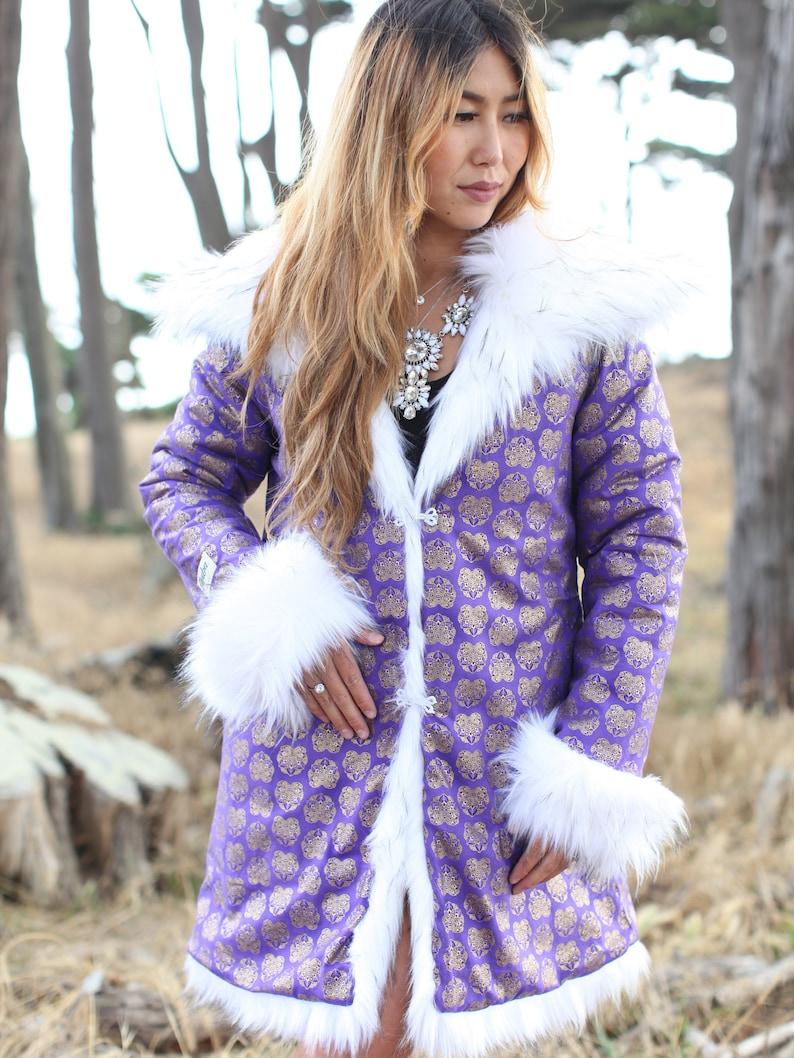 e944295cd7d4 Mayan Purple Festival Fur Jacket White Fur Coat Boho Style