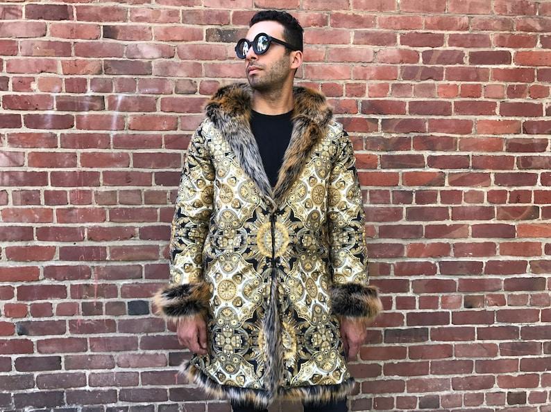 0e5a7982eb82 LAST Golden Sultan Tales Burning Man Men Coat Faux Fur
