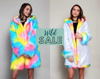 Rainbow Pride Unicorn Festival Birthday Gift Costume Playa Coat Colorful Outfits Fake Fur Shiny Jacket Clothing Women Rave