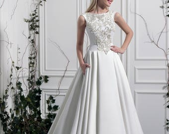 Francesca - Nuage Volant Satin A-line Wedding Dress /Lace with Crystals, Beads /Poshfair